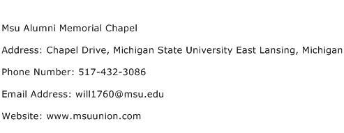 Msu Alumni Memorial Chapel Address Contact Number