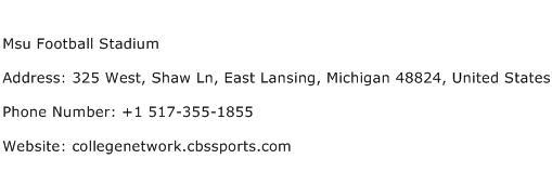 Msu Football Stadium Address Contact Number
