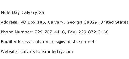Mule Day Calvary Ga Address Contact Number