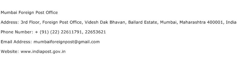 Mumbai Foreign Post Office Address Contact Number