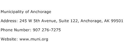 Municipality of Anchorage Address Contact Number
