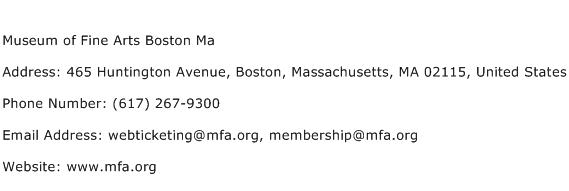 Museum of Fine Arts Boston Ma Address Contact Number