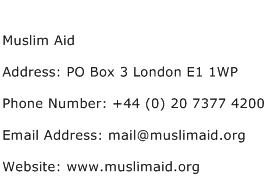 Muslim Aid Address Contact Number