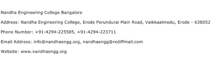 Nandha Engineering College Bangalore Address Contact Number