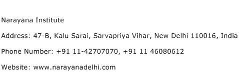 Narayana Institute Address Contact Number
