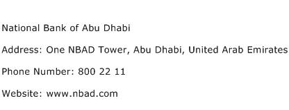 National Bank of Abu Dhabi Address Contact Number