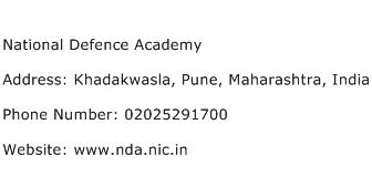 National Defence Academy Address Contact Number