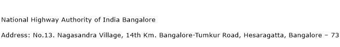 National Highway Authority of India Bangalore Address Contact Number