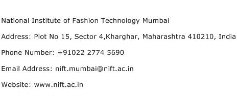 National Institute of Fashion Technology Mumbai Address Contact Number