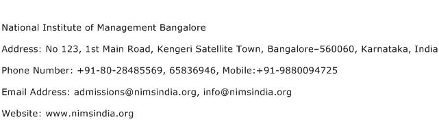 National Institute of Management Bangalore Address Contact Number