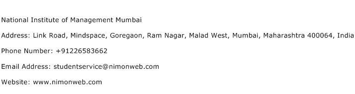 National Institute of Management Mumbai Address Contact Number