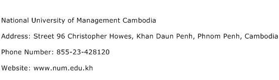 National University of Management Cambodia Address Contact Number