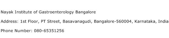 Nayak Institute of Gastroenterology Bangalore Address Contact Number