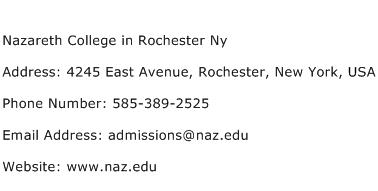 Nazareth College in Rochester Ny Address Contact Number