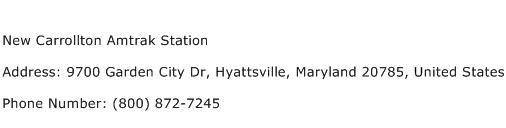 New Carrollton Amtrak Station Address Contact Number