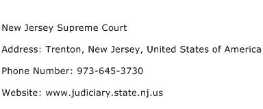 New Jersey Supreme Court Address Contact Number