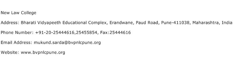New Law College Address Contact Number