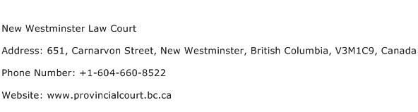 New Westminster Law Court Address Contact Number