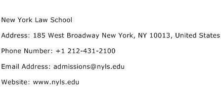 New York Law School Address Contact Number