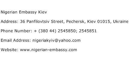Nigerian Embassy Kiev Address Contact Number