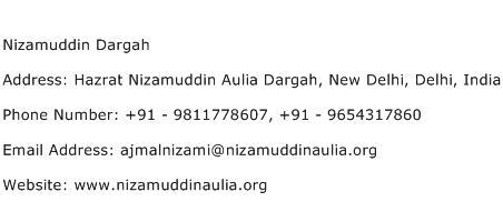 Nizamuddin Dargah Address Contact Number