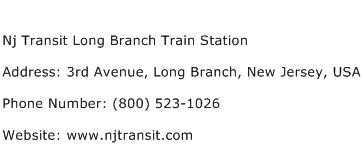Nj Transit Long Branch Train Station Address Contact Number