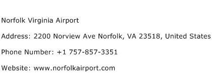 Norfolk Virginia Airport Address Contact Number