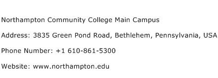 Northampton Community College Main Campus Address Contact Number