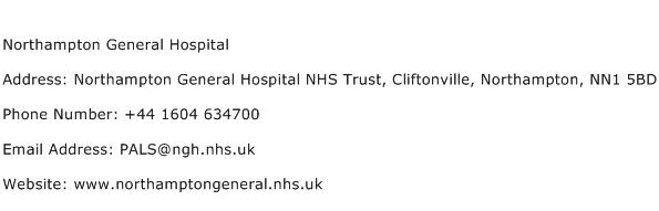 Northampton General Hospital Address Contact Number
