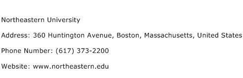 Northeastern University Address Contact Number