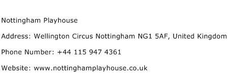 Nottingham Playhouse Address Contact Number