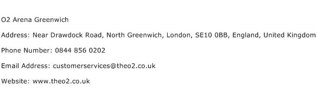 O2 Arena Greenwich Address Contact Number