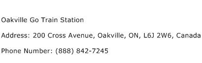 Oakville Go Train Station Address Contact Number