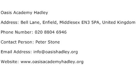 Oasis Academy Hadley Address Contact Number