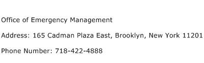 Office of Emergency Management Address Contact Number