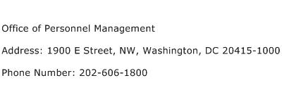 Office of Personnel Management Address Contact Number