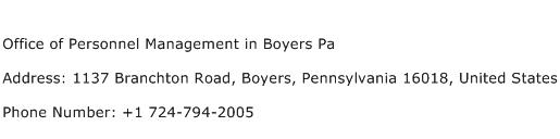 Office of Personnel Management in Boyers Pa Address Contact Number