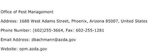Office of Pest Management Address Contact Number