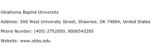 Oklahoma Baptist University Address Contact Number