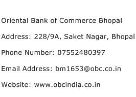 Oriental Bank of Commerce Bhopal Address Contact Number