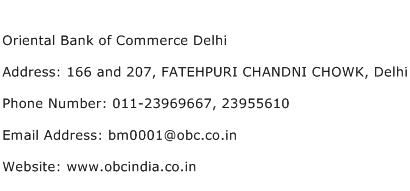 Oriental Bank of Commerce Delhi Address Contact Number