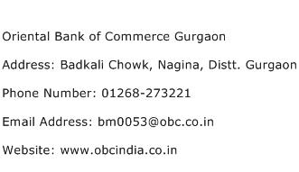 Oriental Bank of Commerce Gurgaon Address Contact Number