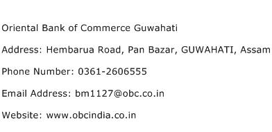 Oriental Bank of Commerce Guwahati Address Contact Number