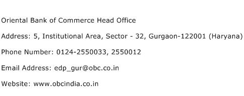 Oriental Bank of Commerce Head Office Address Contact Number