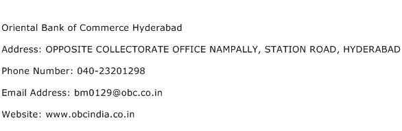 Oriental Bank of Commerce Hyderabad Address Contact Number