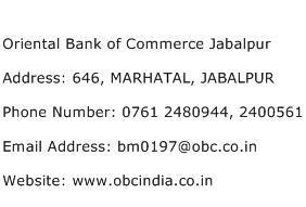 Oriental Bank of Commerce Jabalpur Address Contact Number