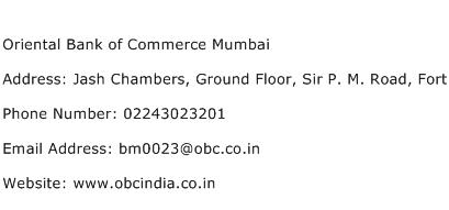 Oriental Bank of Commerce Mumbai Address Contact Number