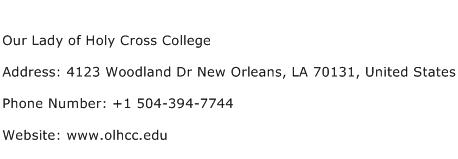 Our Lady of Holy Cross College Address Contact Number
