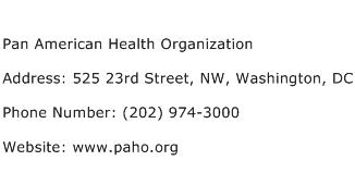 Pan American Health Organization Address Contact Number