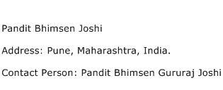Pandit Bhimsen Joshi Address Contact Number
